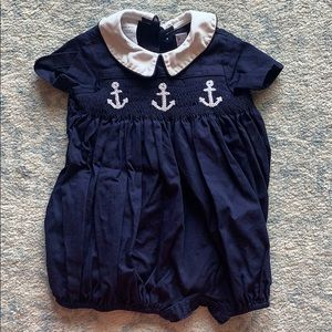 Navy Blue Anchor Smocked Bubble
